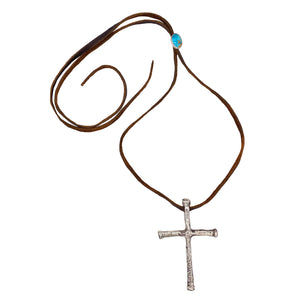 Brown Leather Cross and Turquoise Necklace