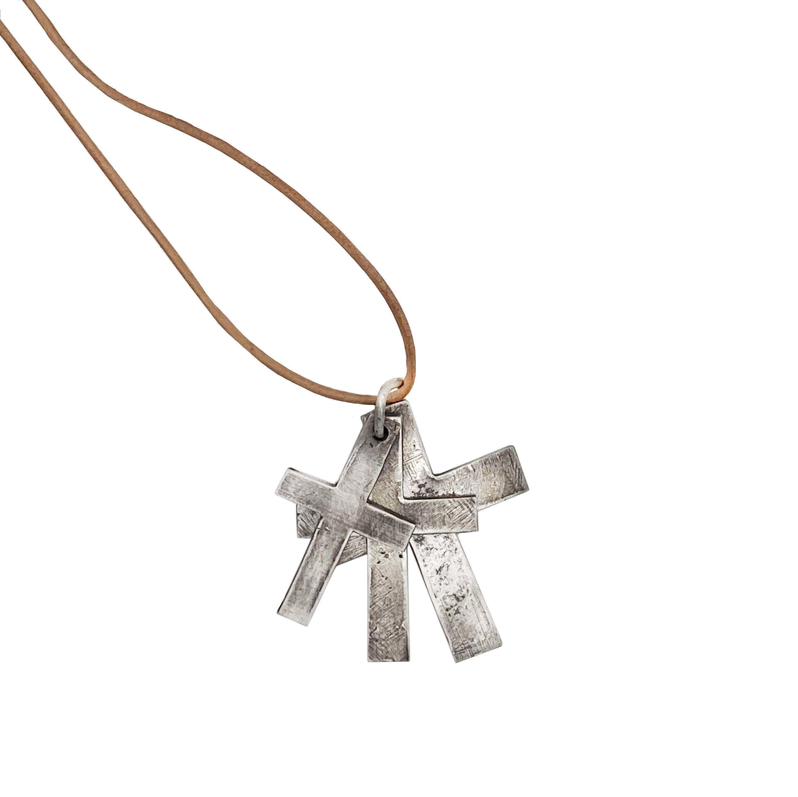 Layered and Leather Cross Necklace