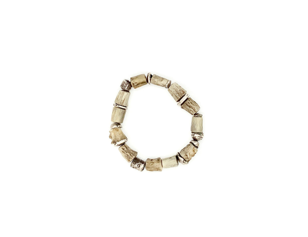 Mens Antler Bead Stretch Bracelet