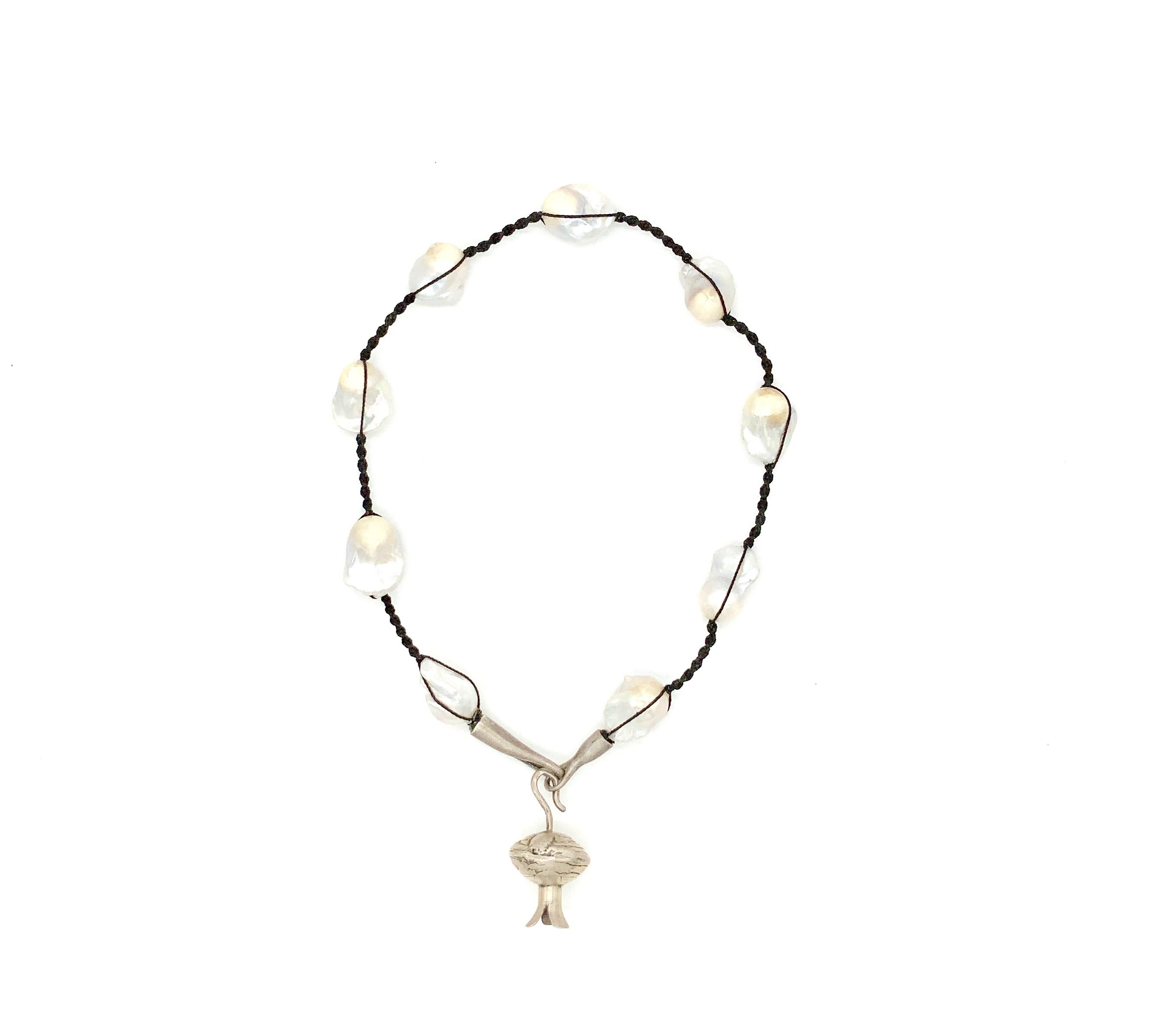Baroque Pearl and Macrame String Necklace