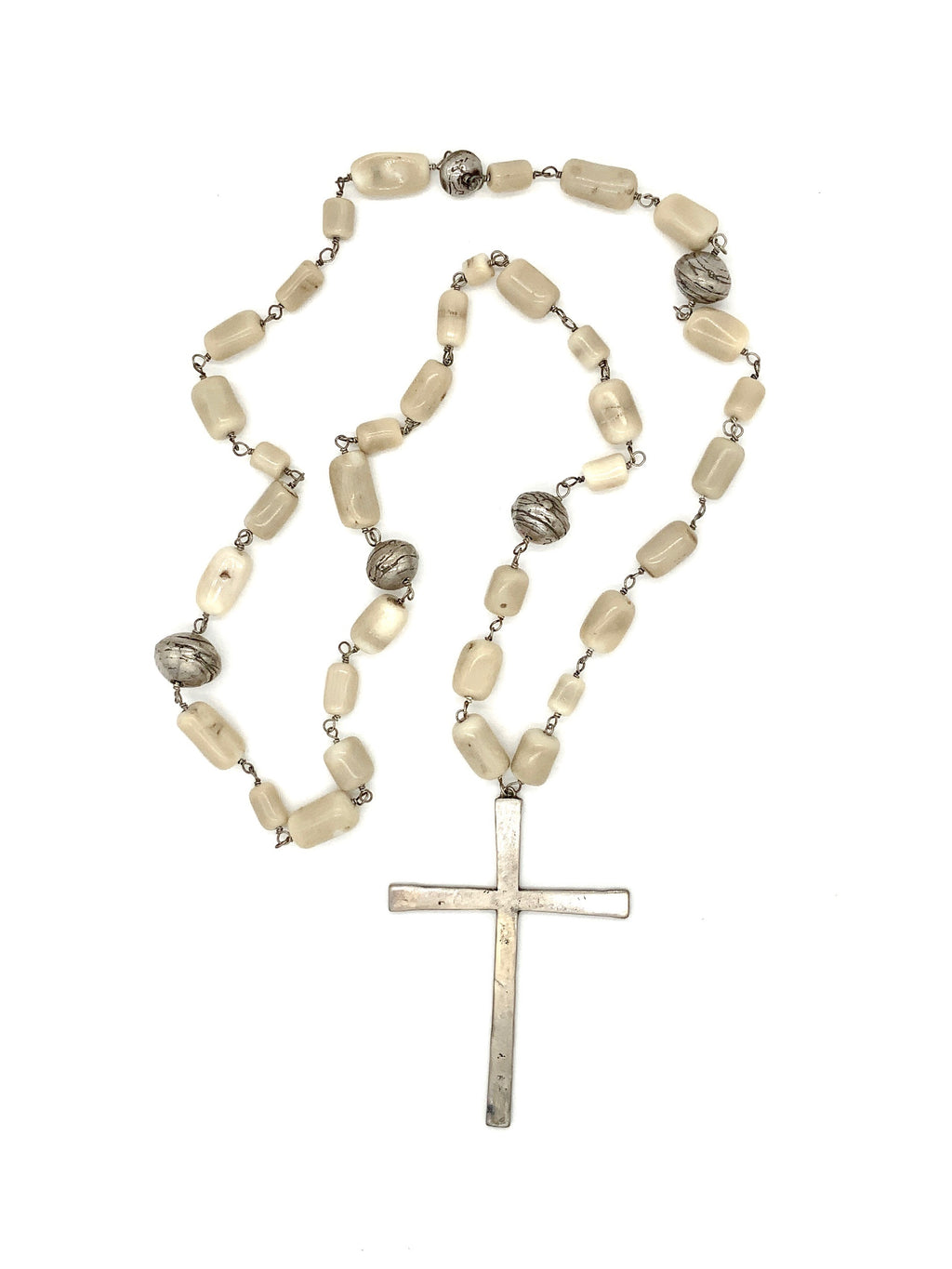 Bone Bead Cross Necklace