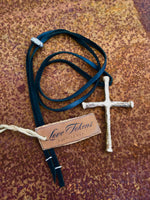 Bronze Cross Boho Leather Necklace