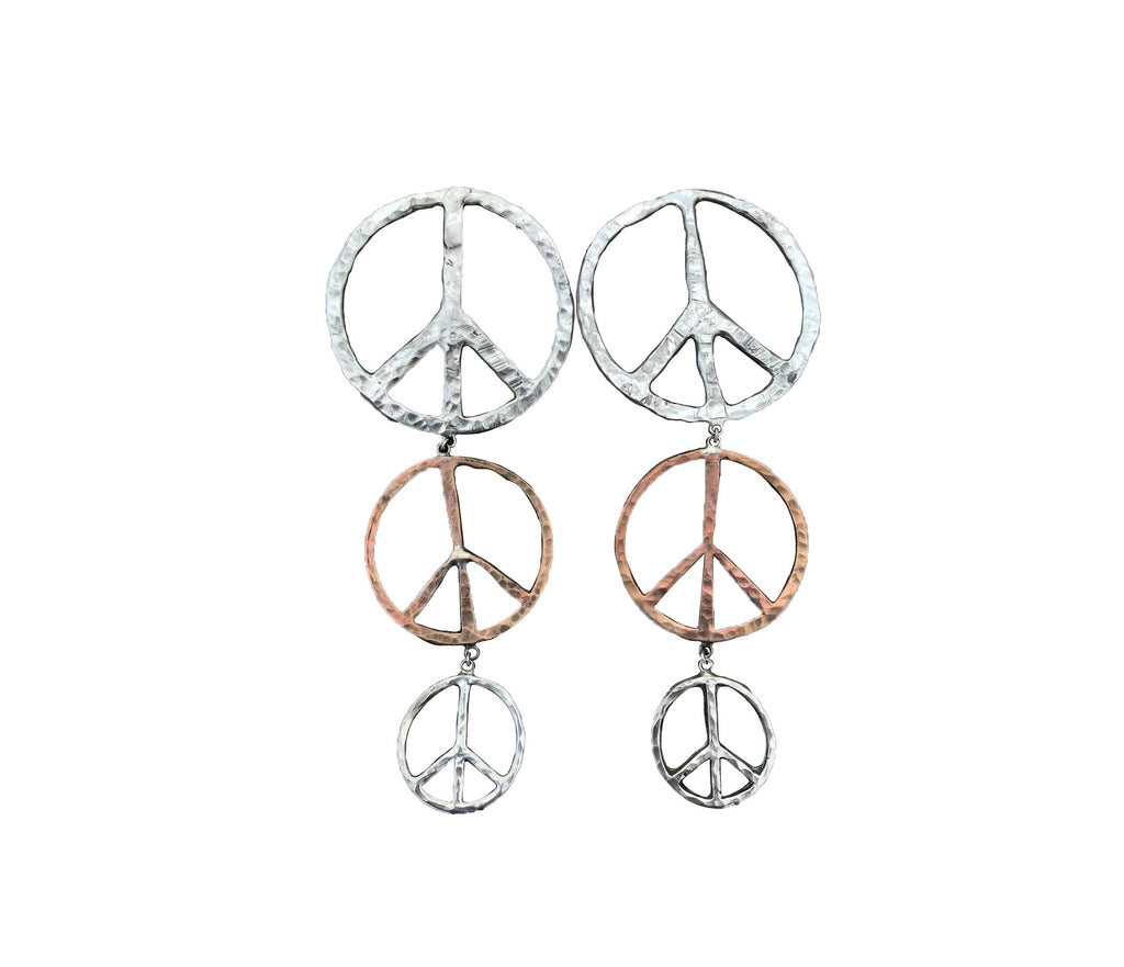 Mixed Metal Peace Earrings