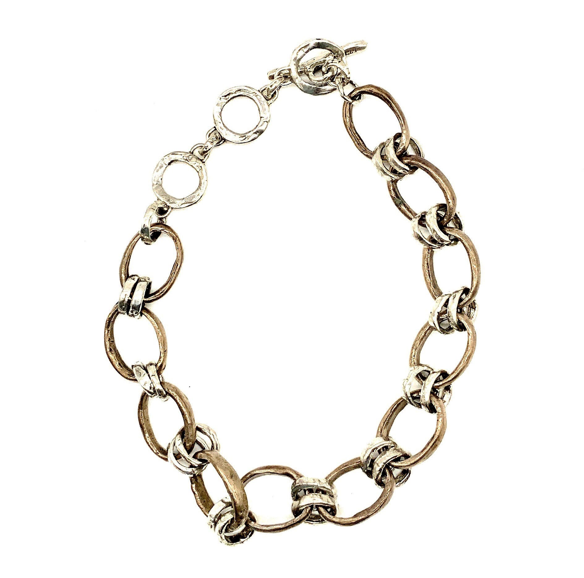 Mixed Metal Circle Chain Necklace