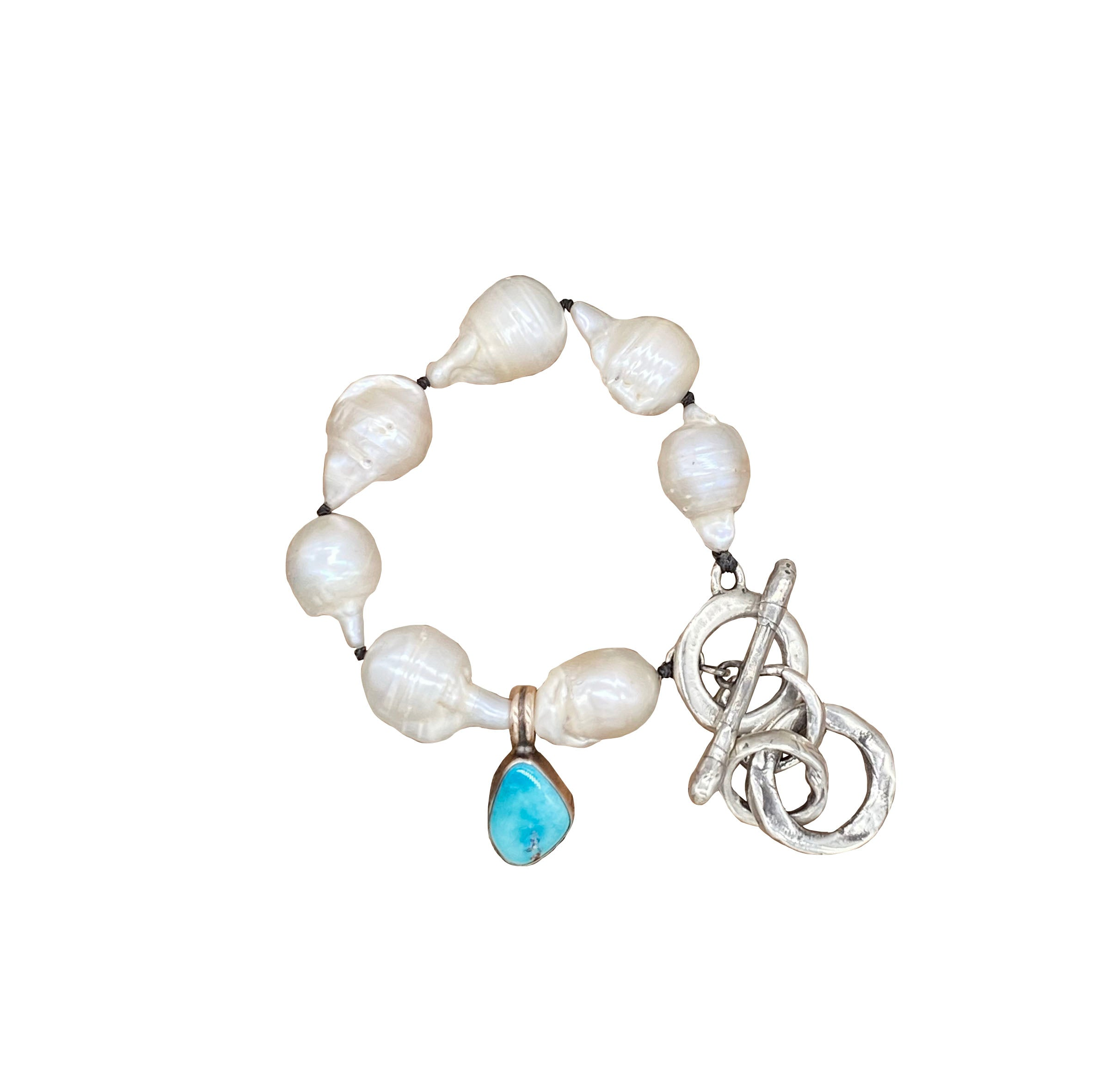 Mixed Metal Pearl and Turquoise Bracelet