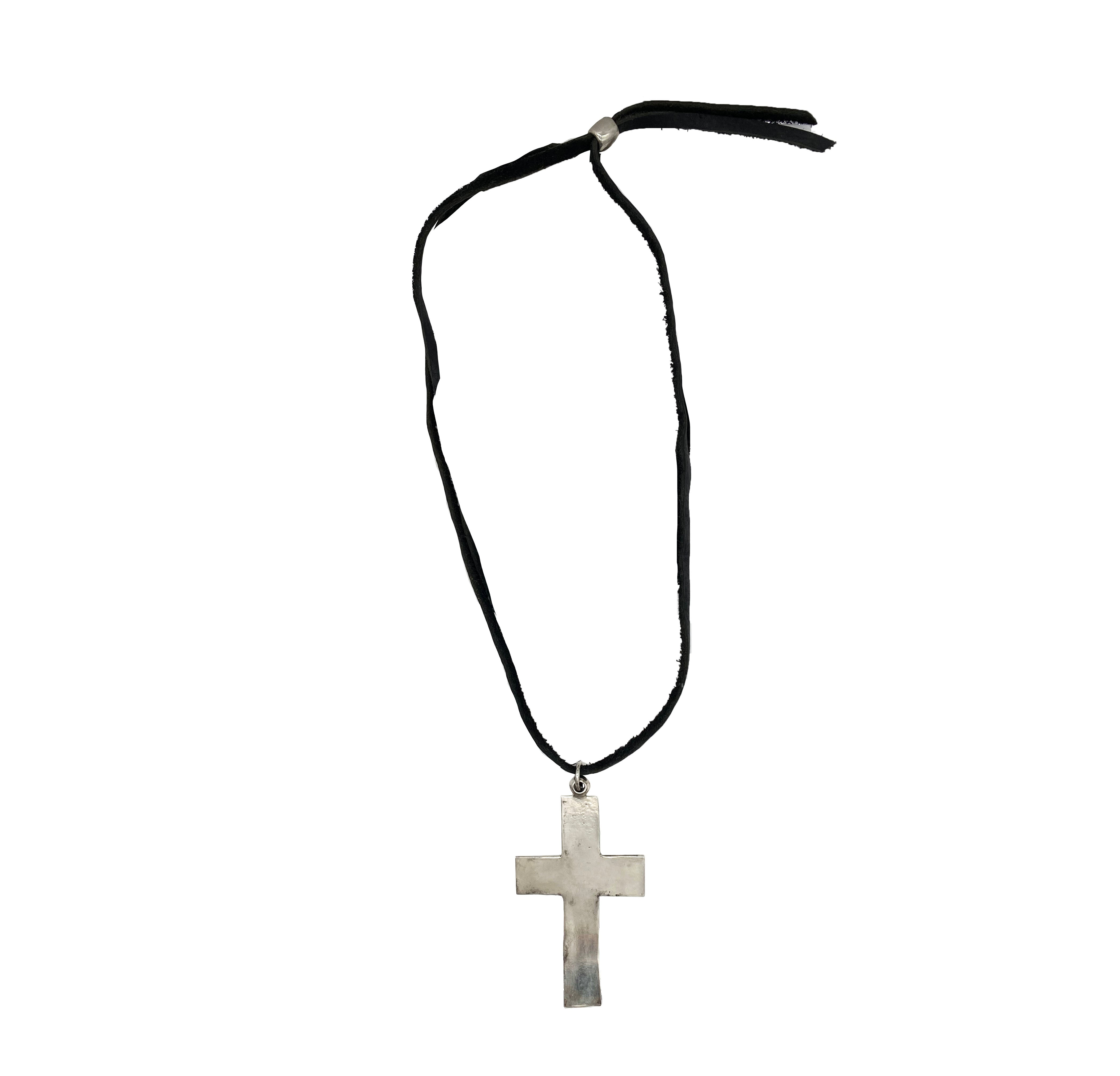 Boho Leather Strap Cross Necklace