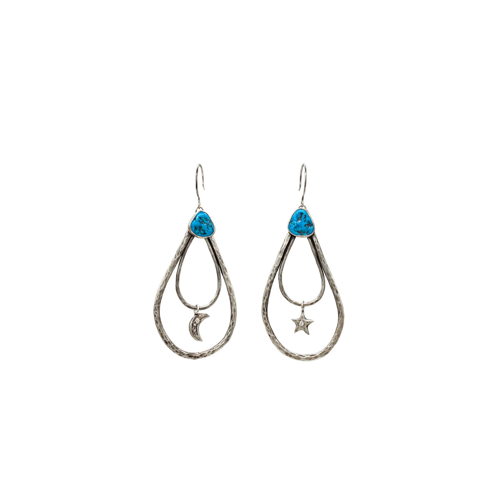 Double Teardrop Turquoise Earrings