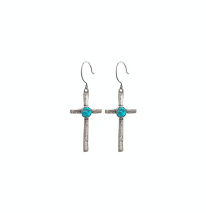 Cross Earrings with Turquoise