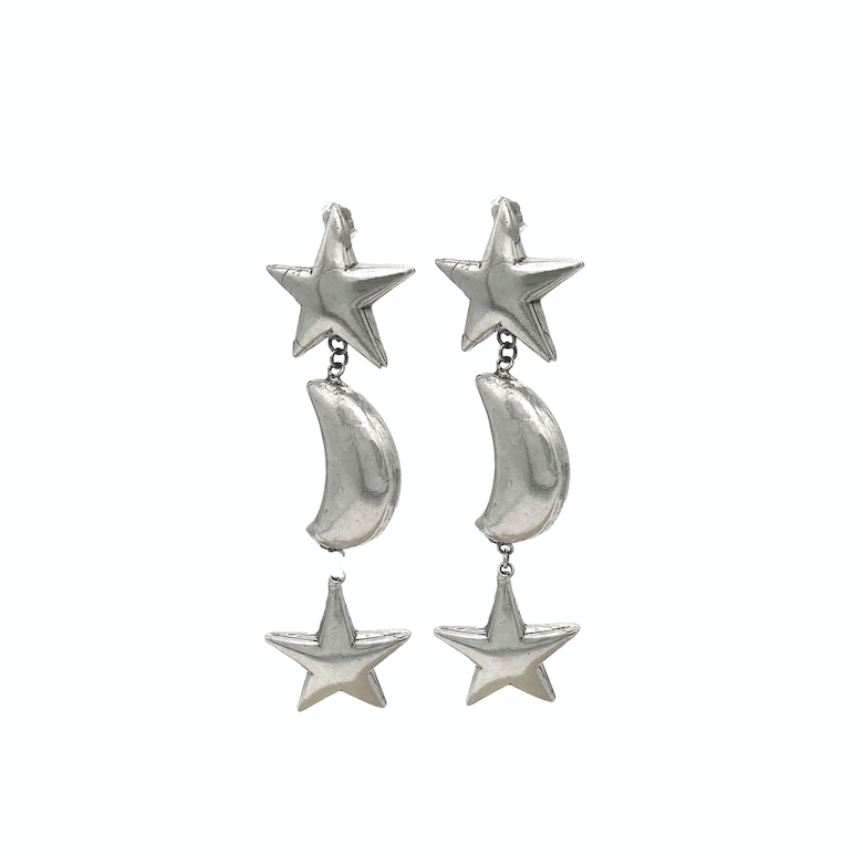 Thick Star and Moon Earrings
