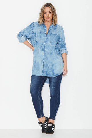 Marble Wash Denim Shirt