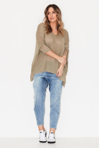 Drop Hem Gauze Knit Top