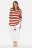 Slub Knit Top- Brick Stripe