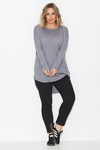 Slub Knit Top - Grey Marle