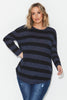 Slub Knit Top- Ink/ Black Stripe