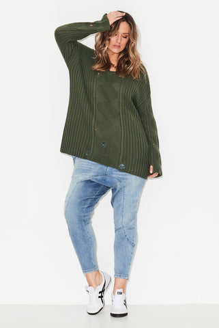 Distressed Cable Knit-Sage