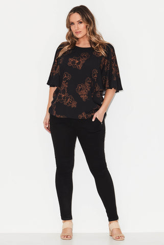 Black Floral Drape Top