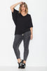 Drape Jersey Top- Black