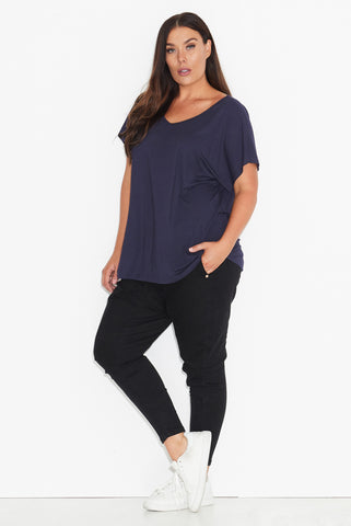 Basic Dolman Tee- NAVY