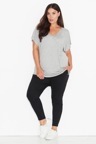 Basic Dolman Tee- Grey Marle  All Sizes re-stocked 17 Sundays