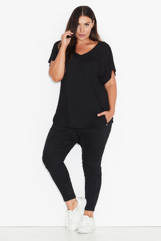 Basic Dolman Tee- Black All Sizes re-stocked 17 Sundays