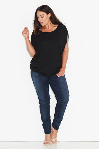 Basic Cocoon Top- Black 17 Sundays