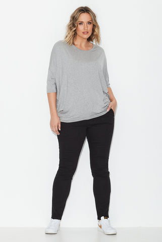 Basic Circle Tee- Grey Marle