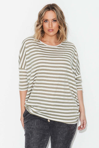 Basic Circle Tee- Olive/ Cream Stripe