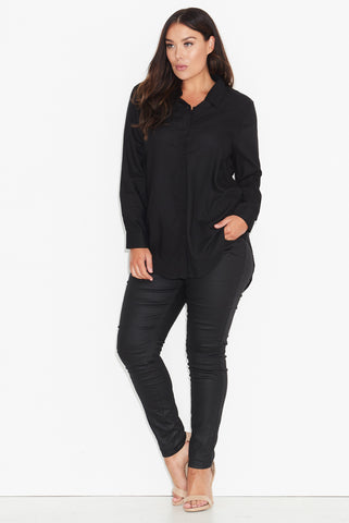 BASIC LONG LINE SHIRT - BLACK 17 Sundays