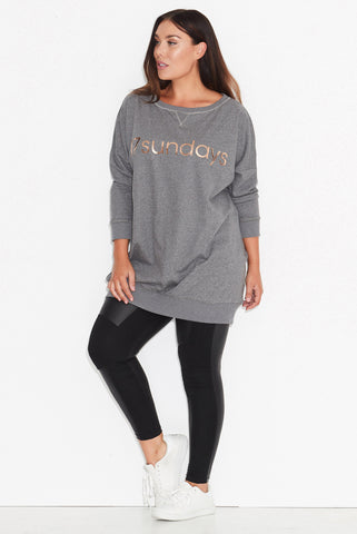 Longline Sweat- Charcoal Marle PRE ORDER