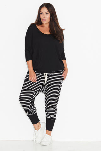 Seamed Harem Pants- Full Length- Black/ White Stripe 17 Sundays