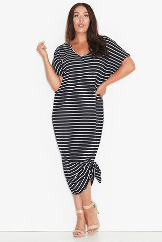 Basic Maxi Dress- Black based stripe 17 Sundays