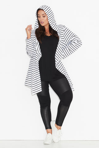 Basic Hooded Drape Cardigan- Black/ White Stripe 17 Sundays