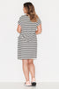 Basic Tie Front Dress- Black/ White Stripe