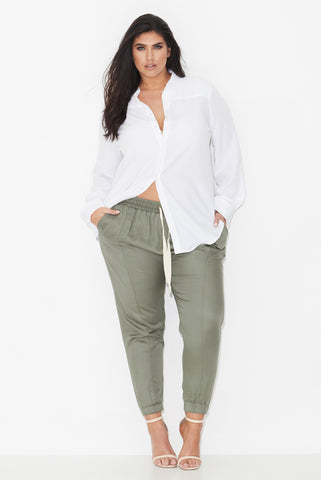 CROSS FRONT TENCEL JOGGERS - OLIVE