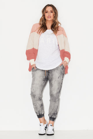 Bubblegum Panelled Bomber Jacket