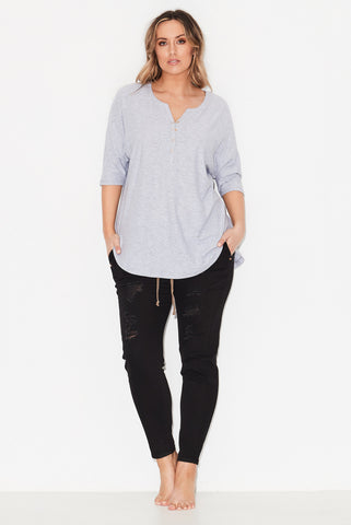 Tongue Tied Henley Tee- Grey Marle