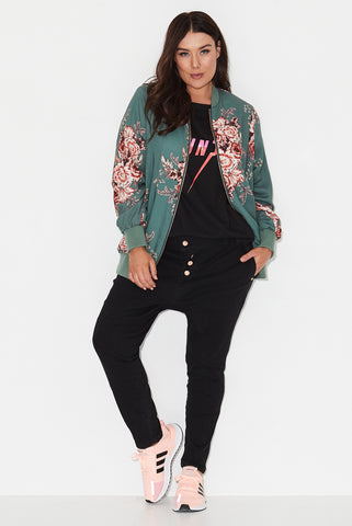 Forest Rose Print Bomber Jacket
