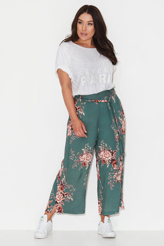Forest Rose Print Palazzo Pants