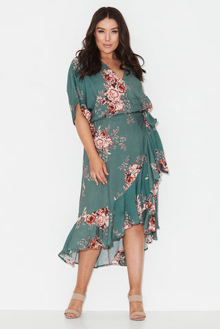 Forest Rose Print Wrap Dress