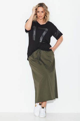 Jersey Maxi Skirt- Olive