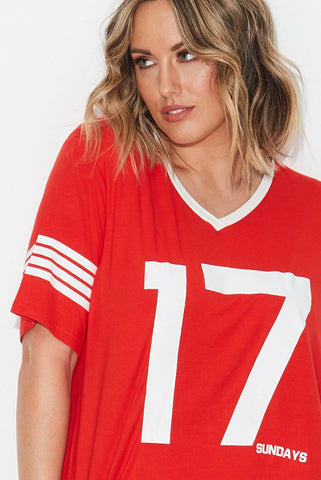 Retro Sports Tee- Red