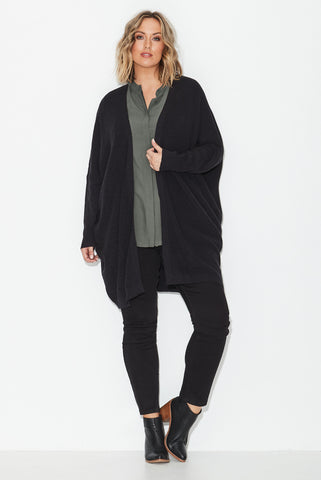 Rib Edge To Edge Cardigan- Black