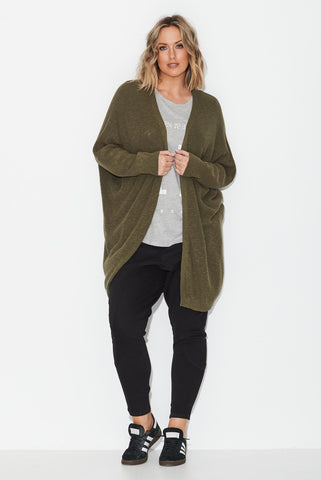 Rib Edge To Edge Cardigan- Olive