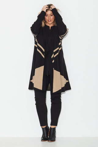 Geo Jacquard Knit Coat