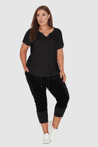 Basic Notched Neck Tee- Black