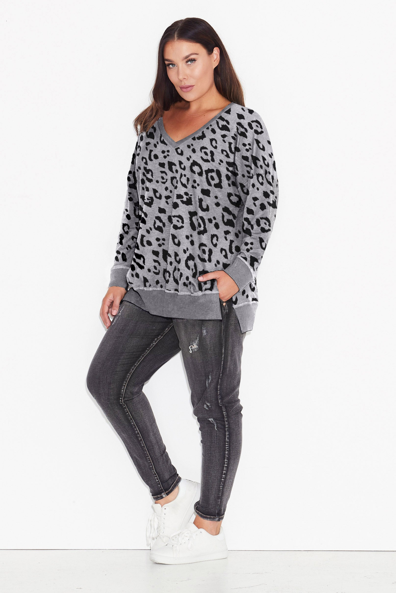 b8f581134bfe Leopard Print Side Split Sweat. Tap to expand