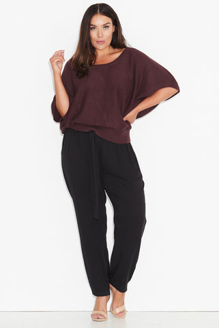 Textured stitch cocoon knit top PLUM 17 Sundays