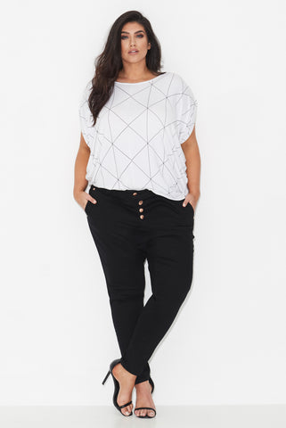 LINEAR PRINT COCOON TOP - WHITE