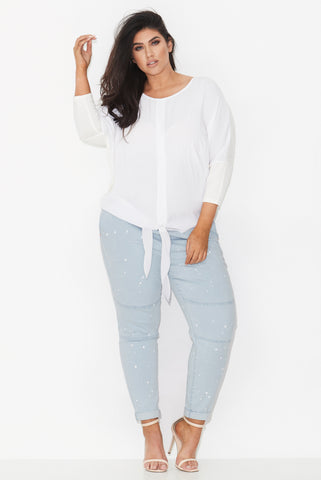 TIE FRONT CIRCLE TOP - WHITE 17 Sundays