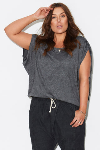 Basic Cocoon Tee - DARK GREY MARLE